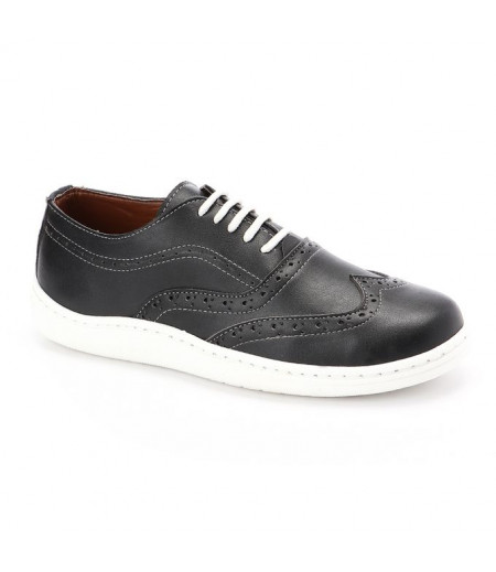 Andora Lace Up Leather Shoes - Black